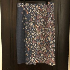 Anthropologie Floral Knit Skirt